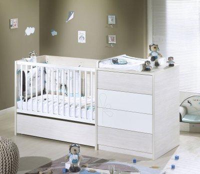 lit chambre transformable 60x120 opale blanc avec motif - Lit Avec Table A Langer Integree