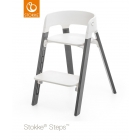 Chaise haute Steps assise blanche pied hêtre gris brume