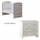 Chambre Duo Lit 120 x 60 + Commode Vintage Silex