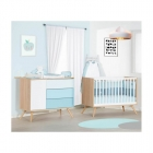 Chambre Duo Lit Little Big Bed 70x140 + Commode Seventies Bleue