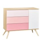 Chambre Duo Lit Little Big Bed 70x140 + Commode Seventies Rose