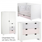 Chambre Trio Lit Little Big Bed 140 x 70 + Commode + Armoire City Girl