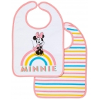 Lot de 2 bavoirs 1er âge Minnie rainbow