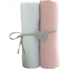 Lot de 2 draps housse blanc / rose 60 x 120 cm