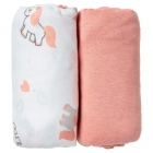 Lot de 2 draps housse 60 x 120 cm licorne / uni rose