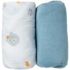 Lot de 2 draps housse 60 x 120cm All over ours / uni bleu