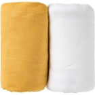 Lot de 2 draps housse moutarde / blanc 60 x 120 cm