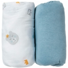 Lot de 2 draps housse 70 x 140 cm All over ours / uni bleu