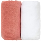 Lot de 2 draps housse Terracotta / Blanc 70 x 140 cm