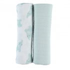 Lot de 2 langes coton bio Mint