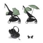 Pack poussette Trio YOYO² complet pack 0+ &  6+ + siège auto YOYO car seat by Besafe + Ombrelle - Châssis Noir - Peppermint