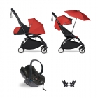 Pack poussette Trio YOYO² complet pack 0+ &  6+ + siège auto YOYO car seat by Besafe + Ombrelle - Châssis Noir - Rouge