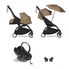 Pack poussette Trio YOYO² complet pack 0+ &  6+ + siège auto YOYO car seat by Besafe + Ombrelle - Châssis Noir - Toffee