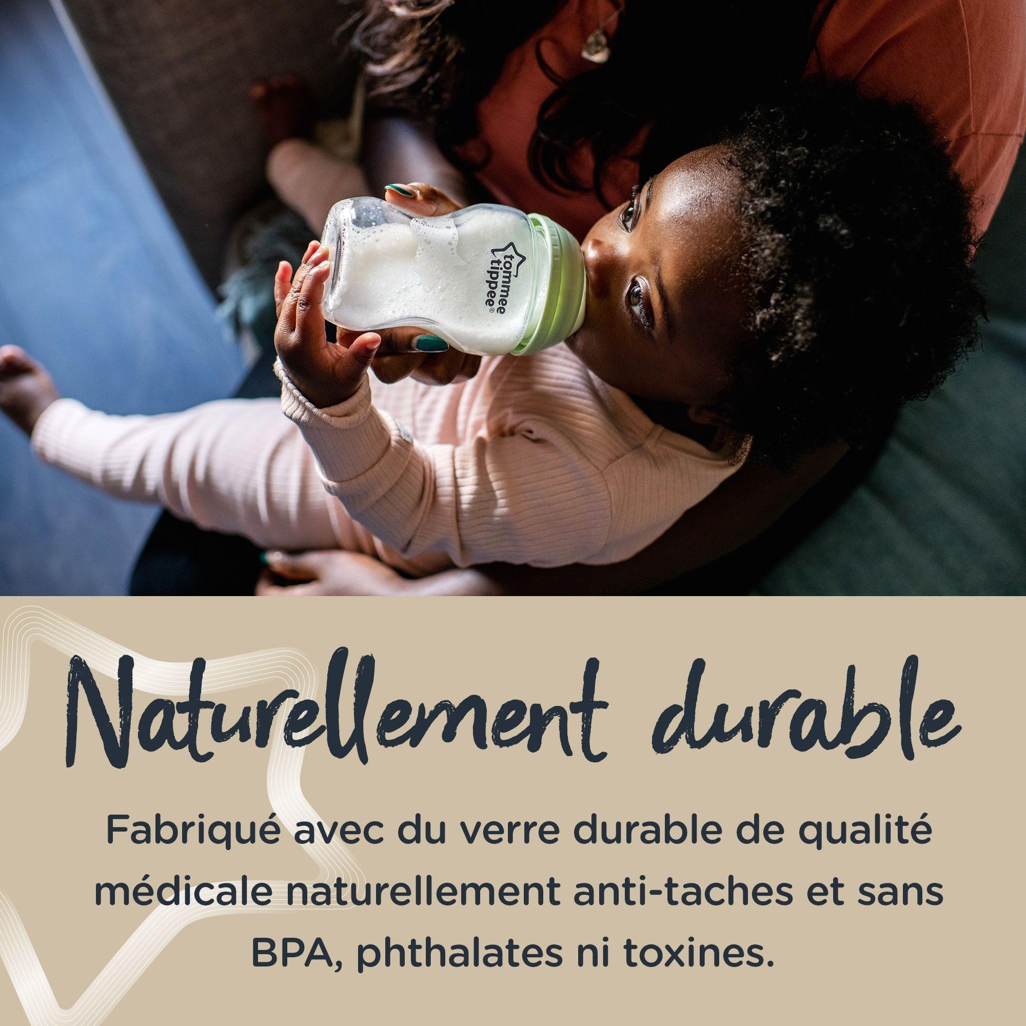 Tommee Tippee Bouteille en verre fille décoré │ sein naturel bébé alimentation │ 250 ml