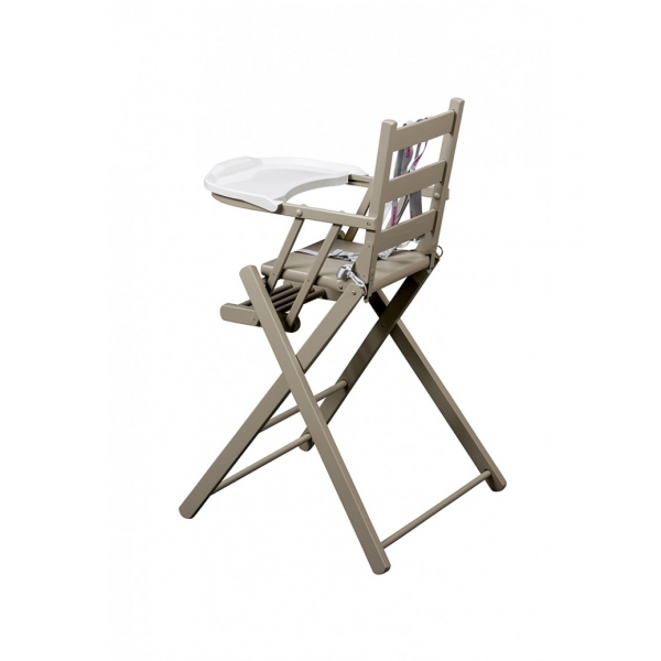 combelle chaise haute sarah pliante laqu gris clair made in b b. Black Bedroom Furniture Sets. Home Design Ideas