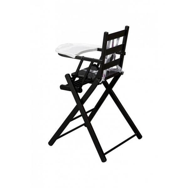 combelle chaise haute sarah pliante laqu noir made in b b. Black Bedroom Furniture Sets. Home Design Ideas