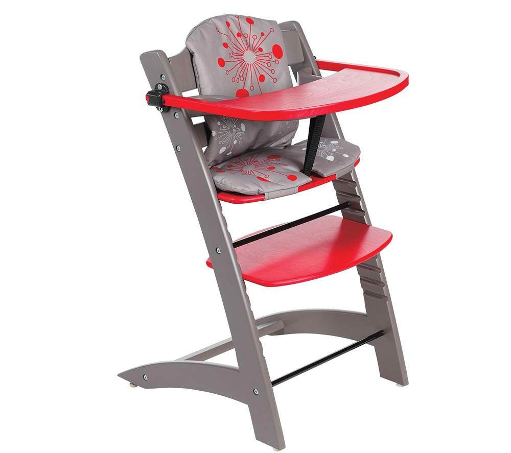 Badabulle Chaise Haute Evolutive Bois Rouge Taupe Made In Bebe