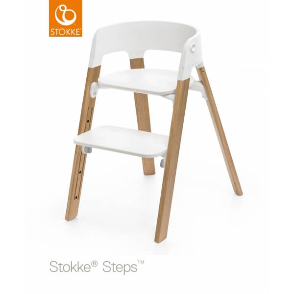 Chaise haute Steps assise blanche pied chêne naturel
