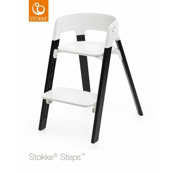 Chaise Haute Steps Assise Blanche Pied Chene Noir