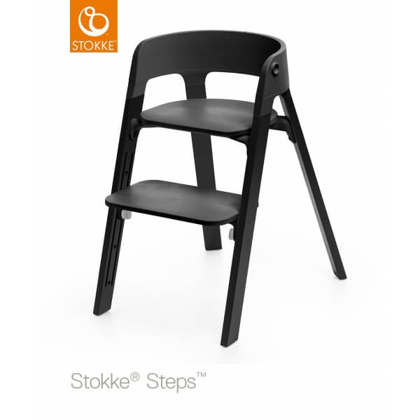 stokke chaise haute b b steps noir ch ne noir made in b b. Black Bedroom Furniture Sets. Home Design Ideas