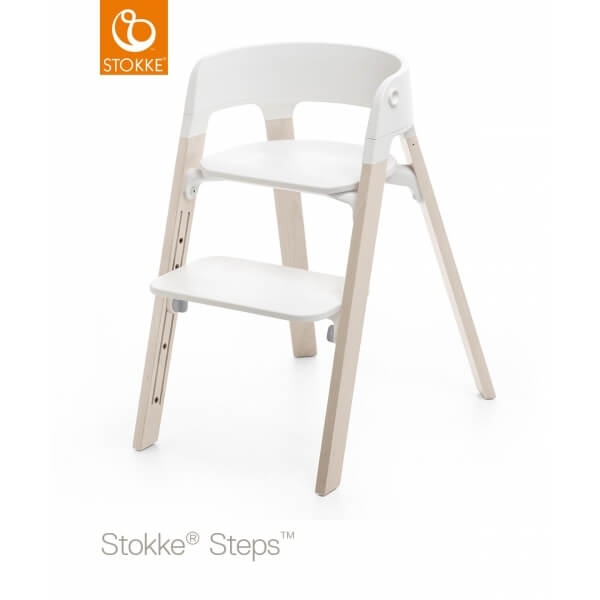 Chaise haute Steps assise blanche pied hêtre blanchi