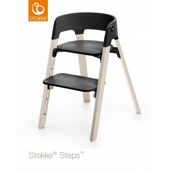 stokke chaise haute steps assise noire pied h tre blanchi made in b b. Black Bedroom Furniture Sets. Home Design Ideas