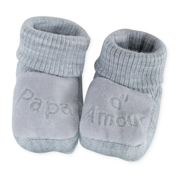 Chaussons papa d'amour gris