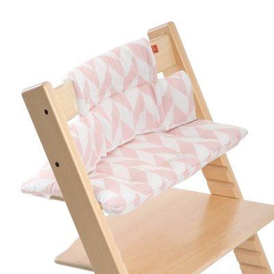 stokke coussin chaise haute tripp trapp chevrons rose made in b b. Black Bedroom Furniture Sets. Home Design Ideas