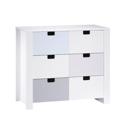 sauthon meubles commode 3 tiroirs zen blanc poign e carr e made in b b. Black Bedroom Furniture Sets. Home Design Ideas