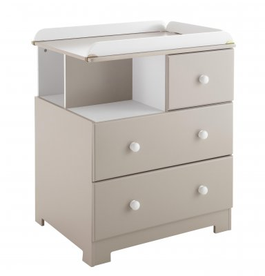 Commode à langer Bali - Taupe/Blanc