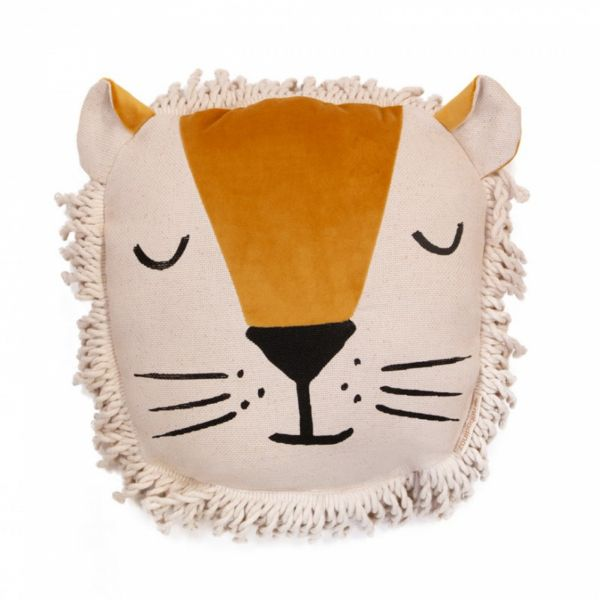 Coussin lion velvet Yellow