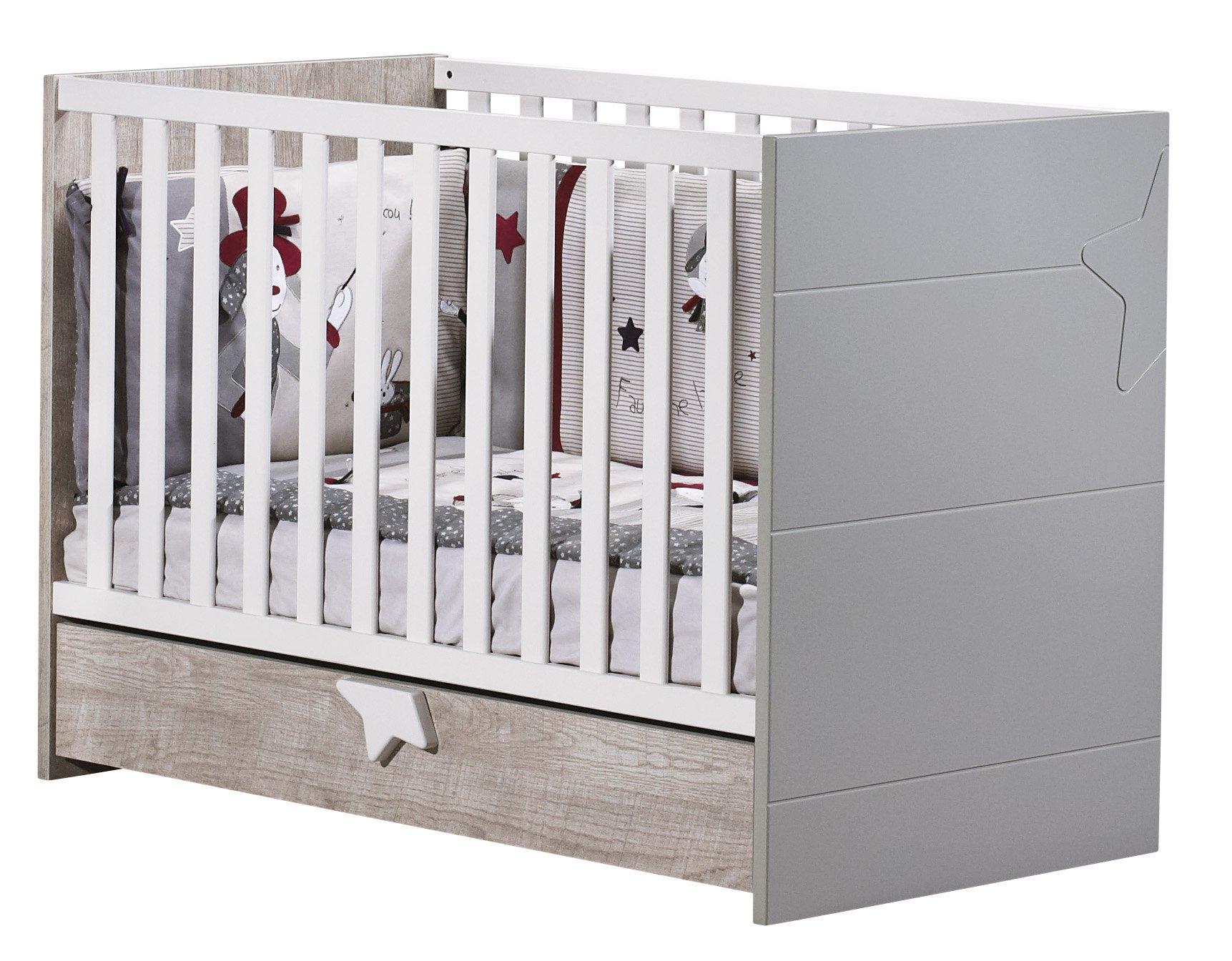 Sauthon meubles lit b b 60 x 120 nova made in b b - Lit bebe barriere coulissante ...