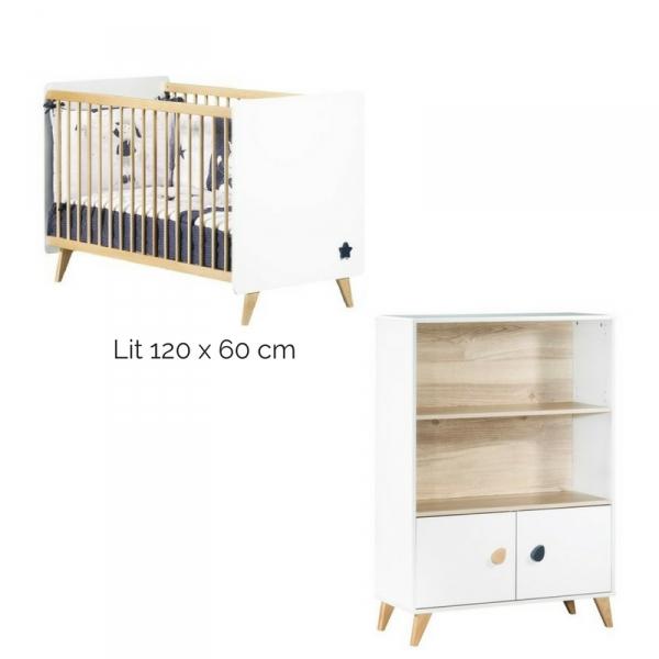 Sauthon meubles lit b b barreaux armoire gouttes oslo for Meuble chambre bebe