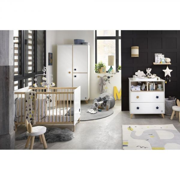 sauthon meubles chambre trio lit 60 x 120 cm commode armoire etoiles oslo made in b b. Black Bedroom Furniture Sets. Home Design Ideas