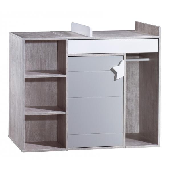 sauthon meubles lit b b 70 x 140 cm volutif en 140 x 190 cm commode langer volutive en. Black Bedroom Furniture Sets. Home Design Ideas
