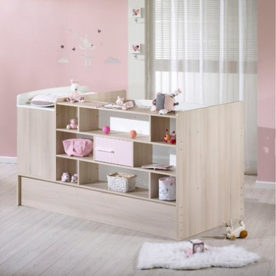 Sauthon meubles lit chambre 70x140 transformable milk rose - Chambre bebe transformable ...