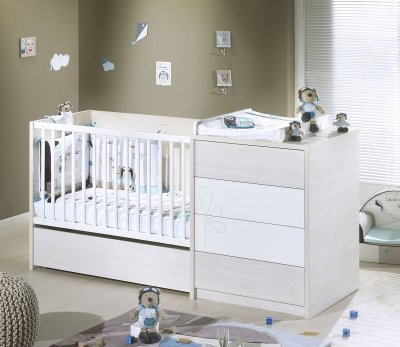 Sauthon meubles lit chambre transformable 60x120 opale blanc avec motif made in b b - Lit chambre transformable ...