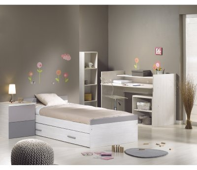 sauthon meubles lit chambre transformable 70x140 opale taupe made in b b. Black Bedroom Furniture Sets. Home Design Ideas