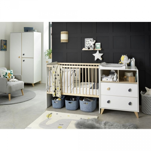 sauthon meubles lit combin volutif 60 x 120 cm en 90 x 190 cm gouttes oslo made in b b. Black Bedroom Furniture Sets. Home Design Ideas