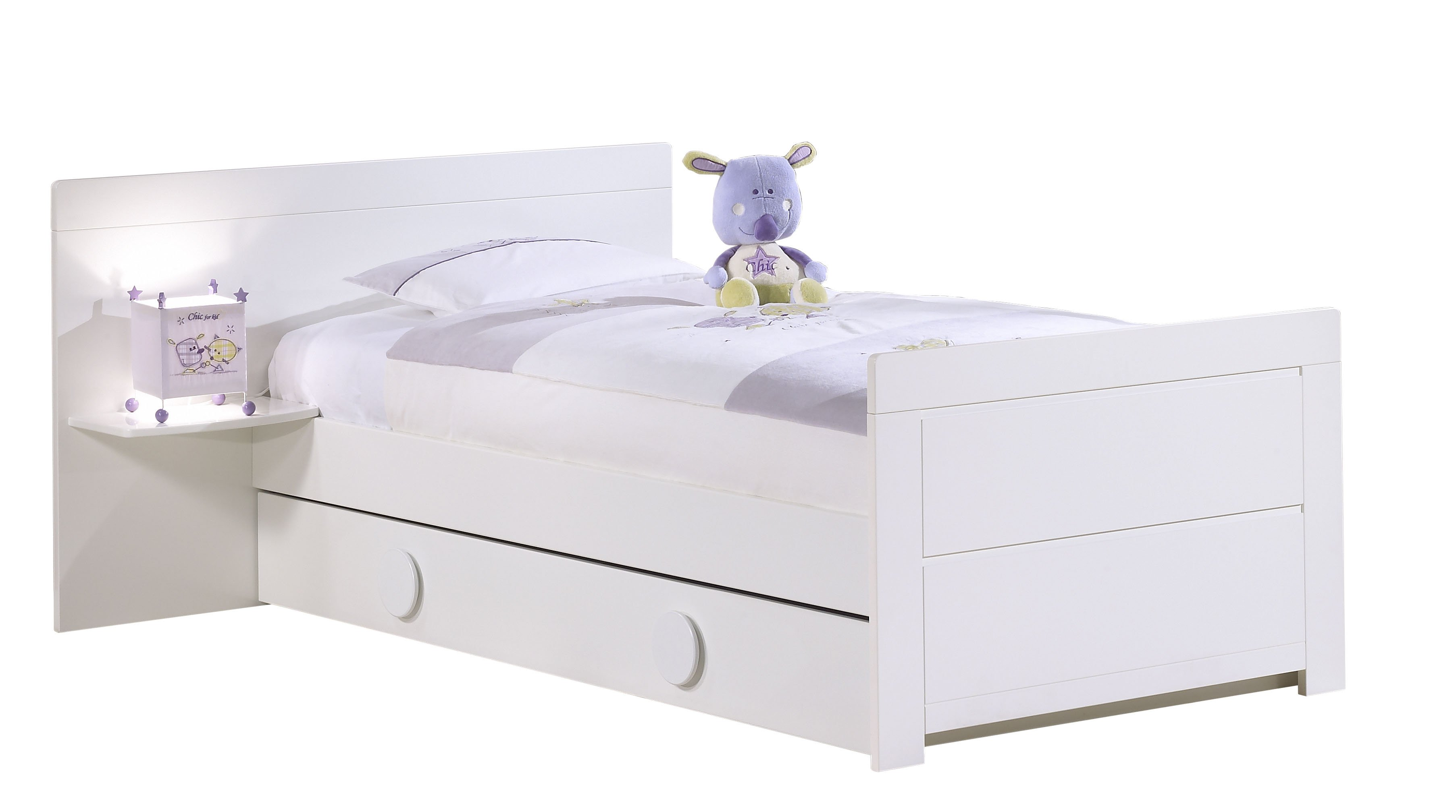 Sauthon meubles lit junior 90x190 avec chevet zen blanc made in b b - Lit blanc laque 90x190 ...