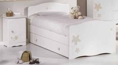 sauthon lit junior 90x190 folio blanc avec d cor made in b b. Black Bedroom Furniture Sets. Home Design Ideas