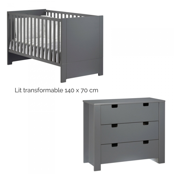 sauthon meubles chambre duo lit 70 x 140 cm commode 3 tiroirs city ardoise made in b b. Black Bedroom Furniture Sets. Home Design Ideas