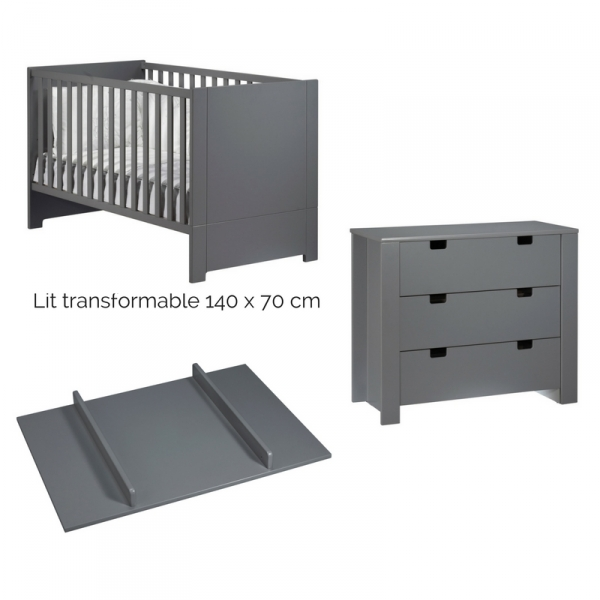 Sauthon meubles lit little big bed commode 3 tiroirs for Meuble a langer