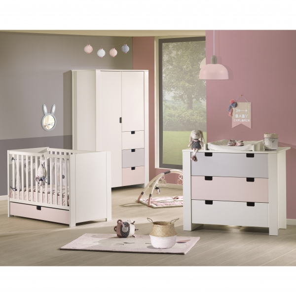 sauthon meubles lit little big bed commode 3 tiroirs city girl 70 x 140 cm made in b b. Black Bedroom Furniture Sets. Home Design Ideas