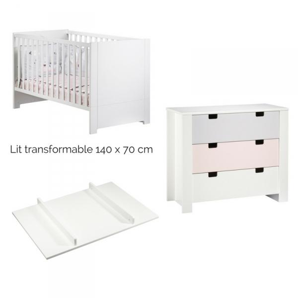 sauthon meubles chambre trio lit 70 x 140 cm commode 3 tiroirs plan langer city girl. Black Bedroom Furniture Sets. Home Design Ideas