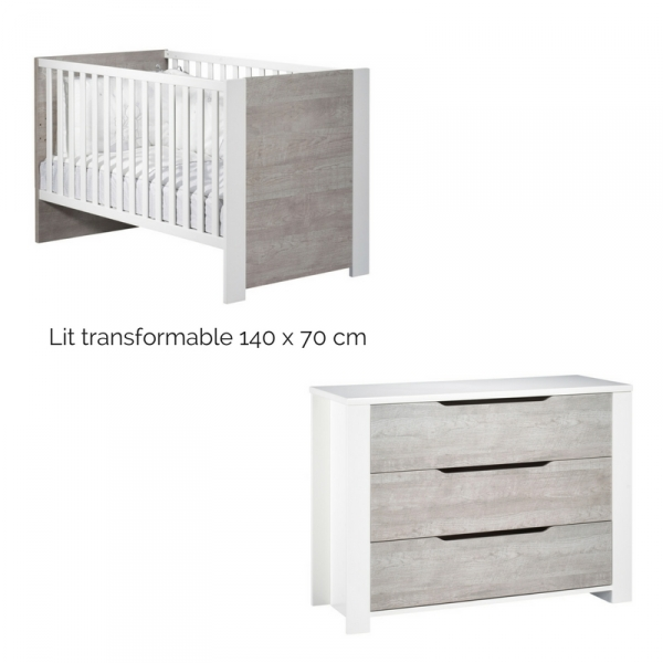 sauthon meubles chambre duo lit 70 x 140 cm commode 3 tiroirs loft made in b b. Black Bedroom Furniture Sets. Home Design Ideas