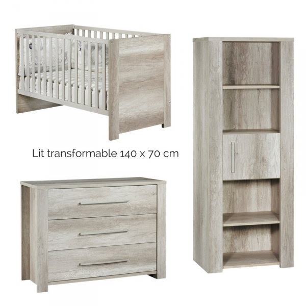 Sauthon meubles lit little big bed commode 3 tiroirs for Bibliotheque meuble moderne