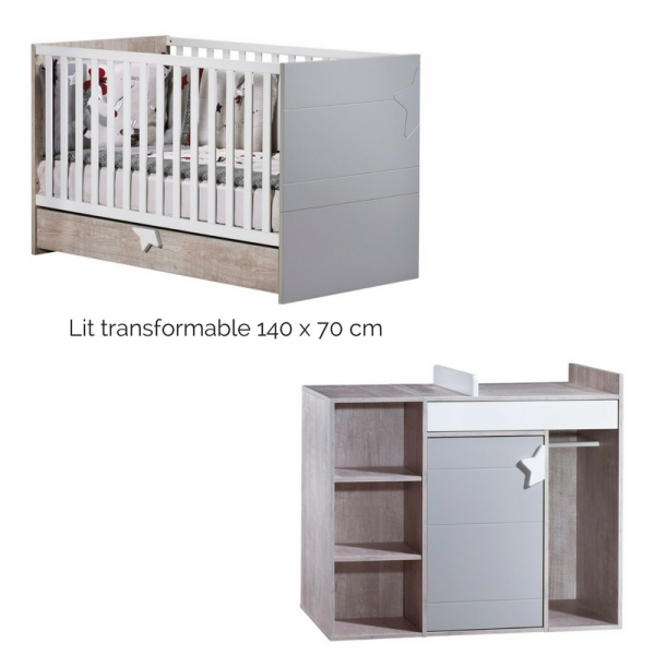 sauthon meubles lit little big bed commode langer