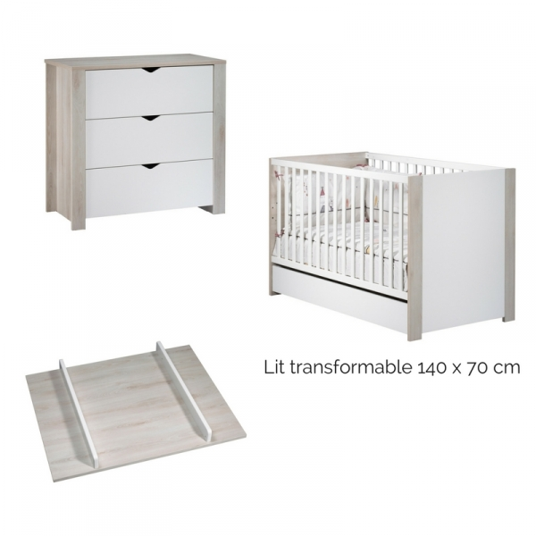 Sauthon meubles lit b b little big bed commode 3 for Meuble a langer