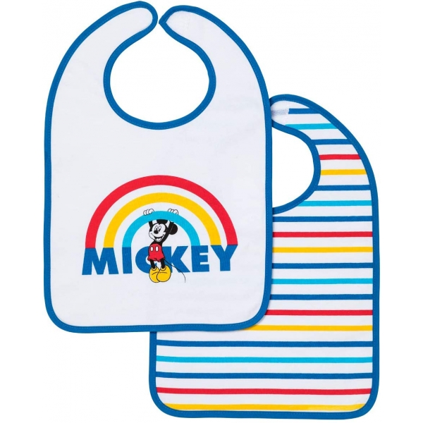 Lot de 2 bavoirs 1er âge Mickey rainbow